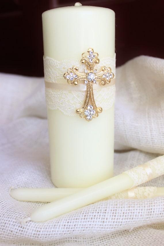 Unity Candle Set Gold Cross Candle Set Church Wedding Unity Etsy