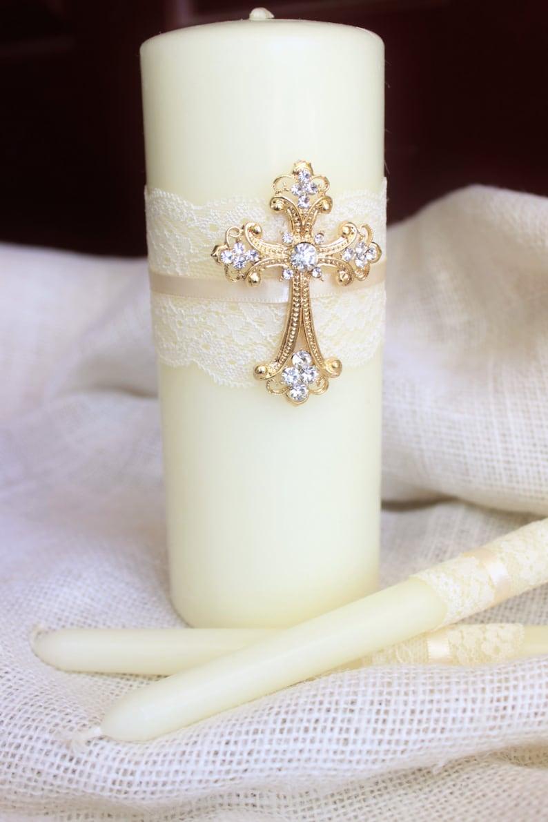 Unity Candle Set Gold Cross Candle Set Church Wedding Unity image 1