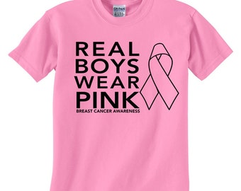 ccfd2826 Real Boys Wear Pink - Breast Cancer Awareness - Boys Cancer Awareness Shirt