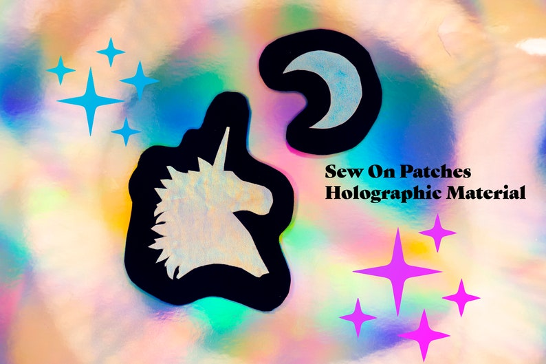 Holographic Unicorn and Moon Sew-On Patch Set / Appliqués image 0