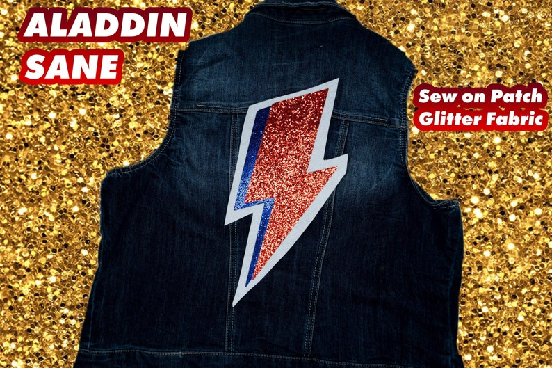 ALADDIN SANE BOLT Bowie Glitter Large Patch image 0