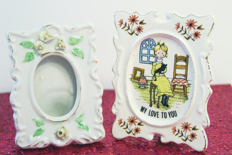 Two Small Vintage Retro Ceramic Frames / Home Decor My image 0
