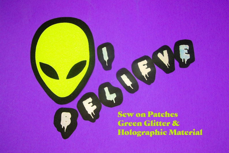 Alien and I BELIEVE  X-Files Fan Dripping Font Silver Hologram image 0
