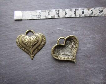 big heart bronze pendant, for jewelry making