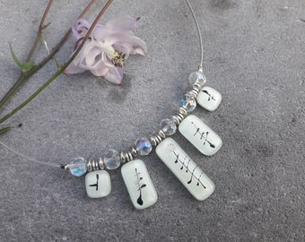 Necklaces fusing glass, 5 elements of fusing glass, 1 cable silver plated