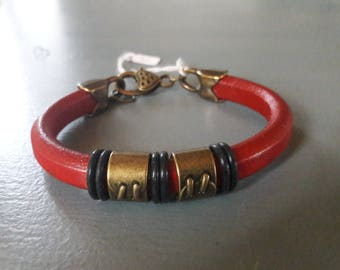Dark red thick leather bracelet, bronze. men's bracelet