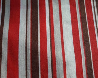 Striped fabric, Brown, red, taupe and white, fall, patchwork, sewing, 80 x 56 cm