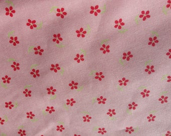 Fabric red flowers on pink background, patchwork, sewing, 76 x 30 cm