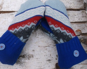 Cozy Sweater Mittens in gray, blue and red design, made from recycled sweater, fleece lined, so warm and cozy