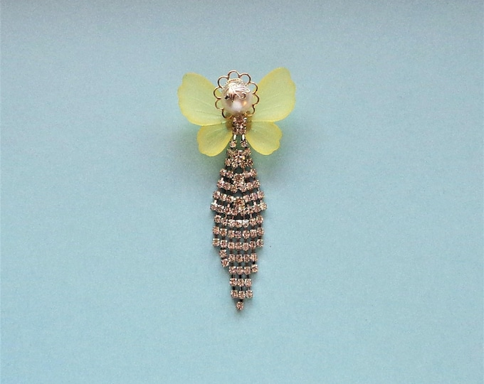 Lemon Yellow and Rhinestone Angel Pin