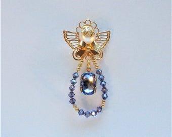 Tanzanite Swarovski Crystals and Gold Angel Pin