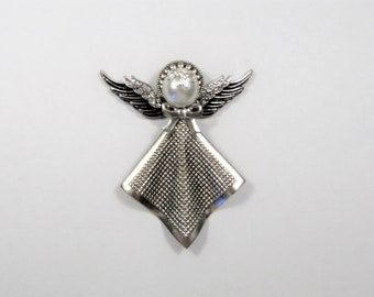 Antique Silver and Rhinestone Angel Pin