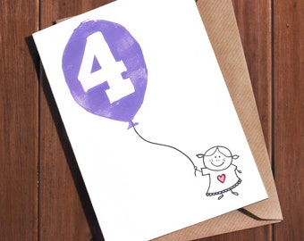 4th Birthday Card Four Year Old Age 4 Fourth Today For A Girl Boy Hand Lino Printed Handmade