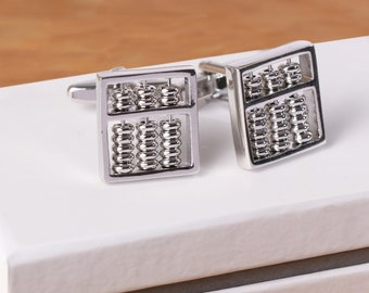 FREE GIFT BAG Mens Silver Abacus Maths Accountant Cufflinks Cuff Links Jewelry
