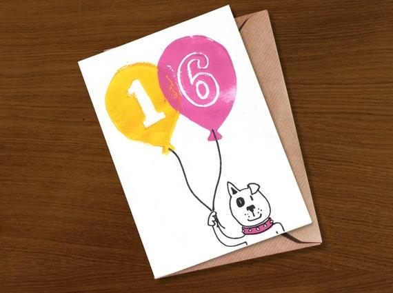 Birthday Card 16 16th Teenager Milestone