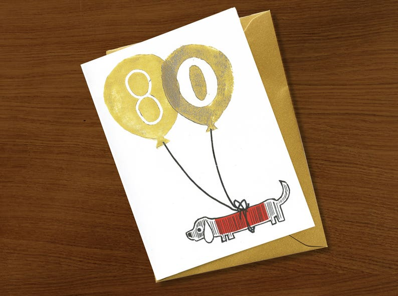 80th Birthday Card 80 Years Special Celebration Gold Ink Eighty Old Milestone Dog Cat Animal Lover