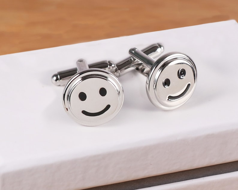 with a luxury box Novelty cufflinks Smiley face cufflinks emoji cufflinks