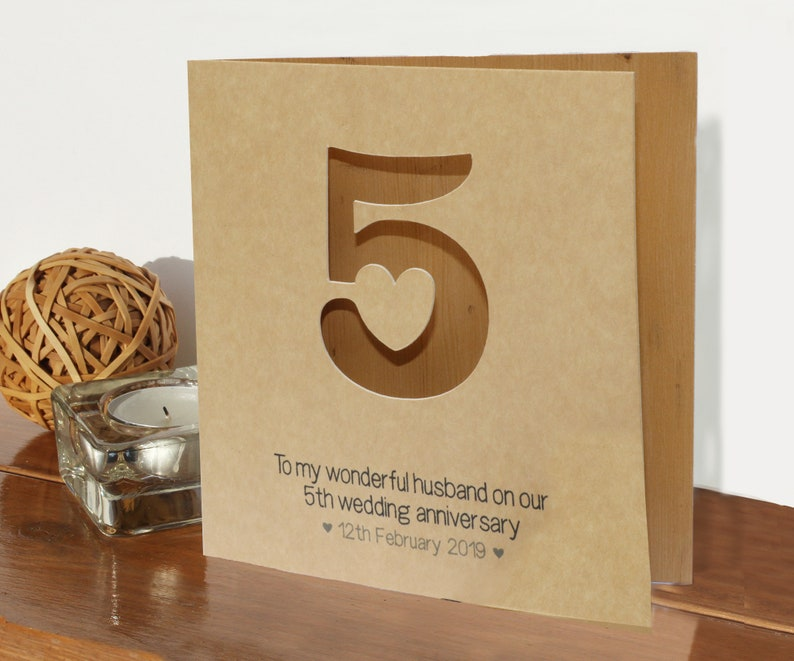 Married 5 years romantic card wood card 5th wedding anniversary card 5th wood card for wife husband partner traditional wood