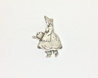 Vintage Sterling Silver Pin Mary Mary Quite Contrary Gardener Mid Century
