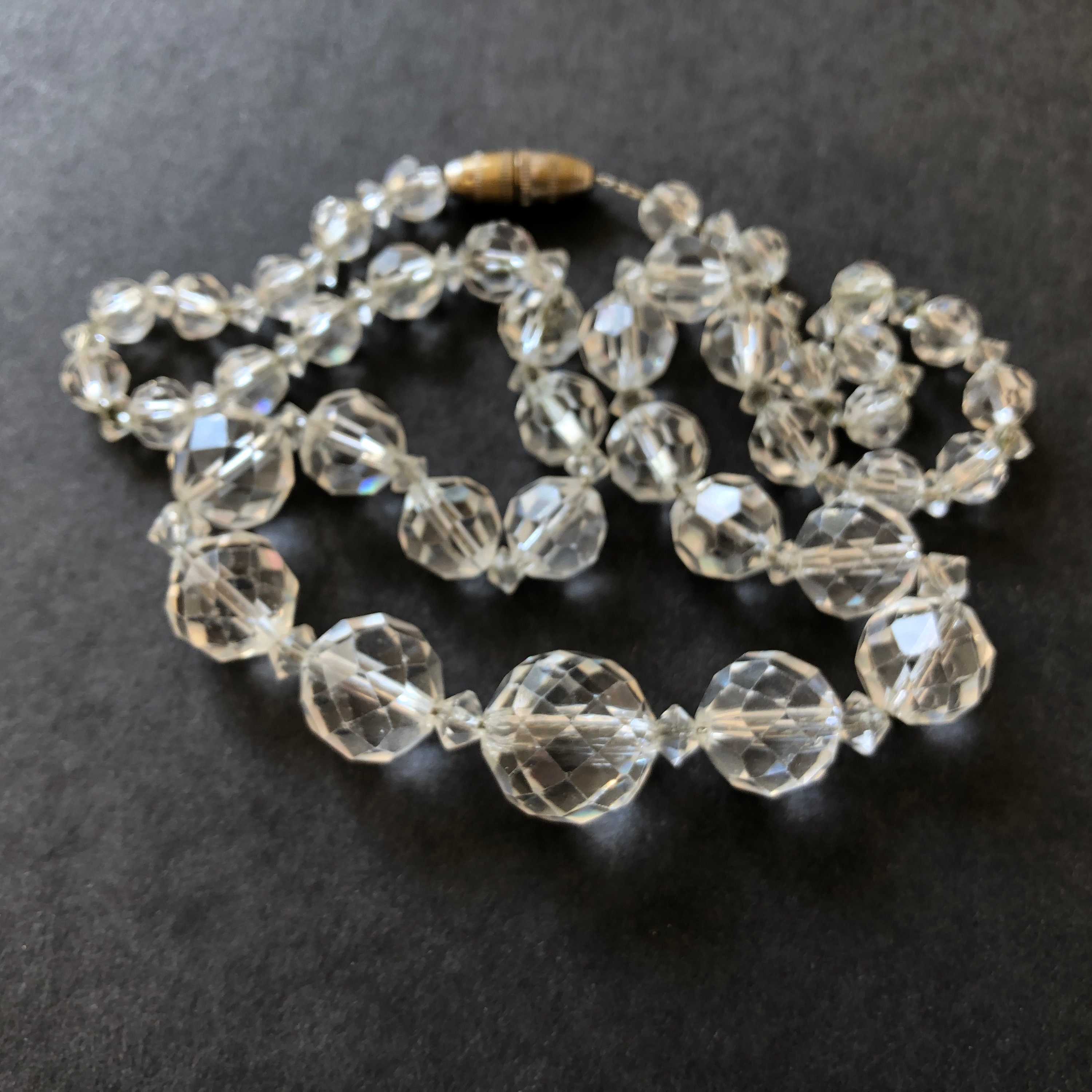 Clear GLASS BEAD NECKLACE 30 Graduated Round Faceted Crystal Beads Antique