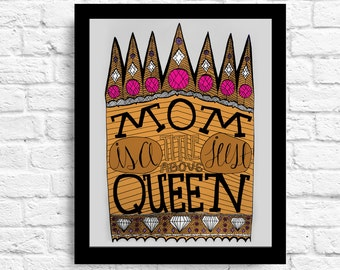 Mom is a Title Just Above Queen Quote- Mother Quote - Wall Art - Customizable- Mothers Day Gift- Hand Lettering- Line drawing