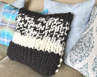Giant Chunky Wool Cozy Knit Pillow with feather insert - Chunky Pillow, Home Decor, Black and White Collection