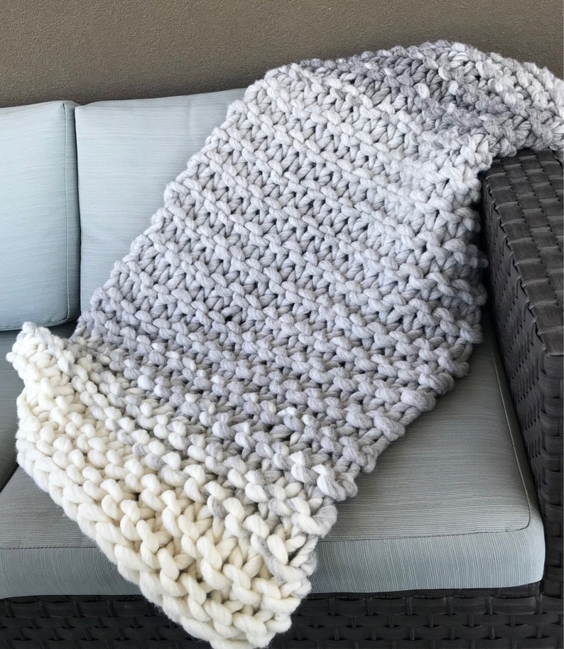 Chunky knit throw wool blanket knit blanket Home Decor image 0