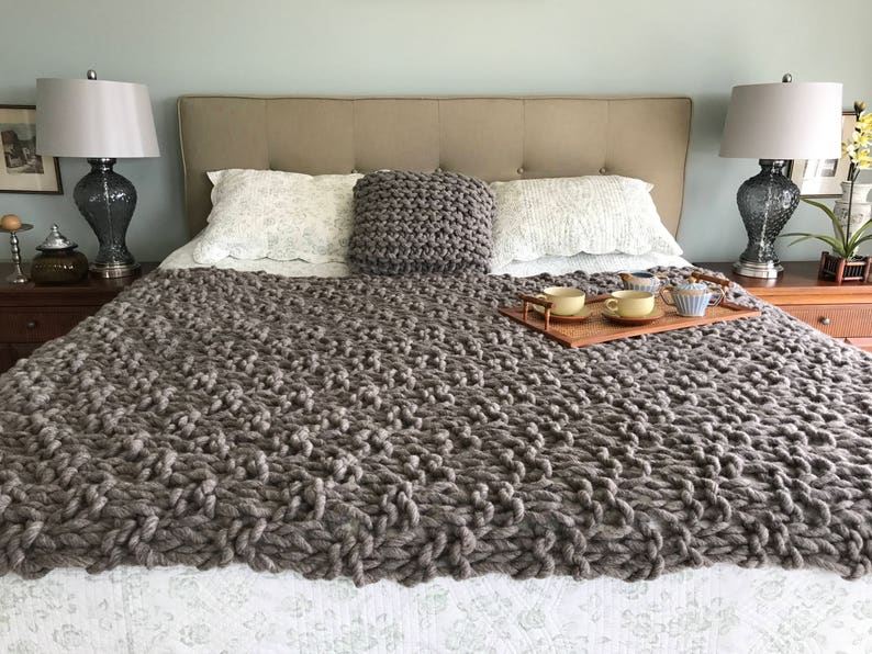 Chunky Knit Blanket makes your home decor beautiful hand spun image 0