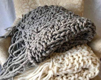 Big Chunky Blanket and Throw with tassels, chunky knit blanket runner in neutral tones made with hand spun yarn, beautiful living room decor