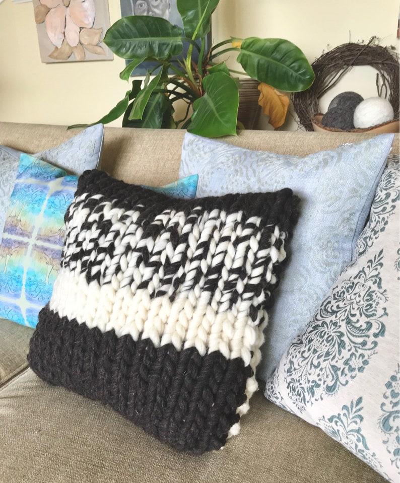 Chunky Knit Pillow Wool Pillow Knit Cushion Chunky Pillow image 0