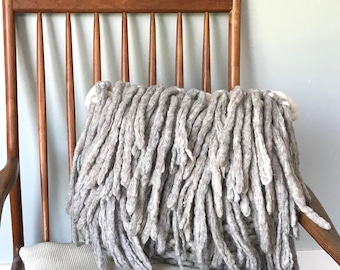 Decorative pillow with wool fringe, beautiful home decor for the couch or bedroom, this Chunky Knit Pillow is perfect as a housewarming gift