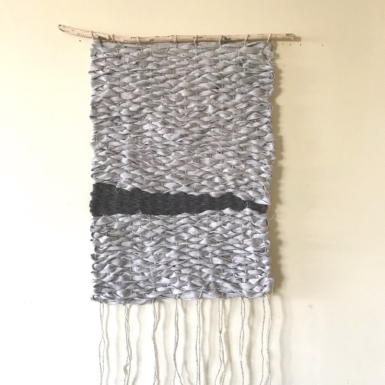 Natural woven linen wall hanging beautiful linen and wool image 0