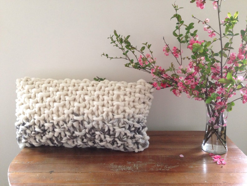 Chunky Knit Pillow wool pillow  feather insert throw image 0