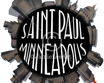 FUN! St. Paul Minneapolis Circle Skyline Print