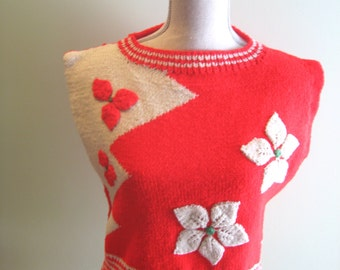 Vintage Sleeveless Sweater/Square/Red/Cream/Flower/Thick Knit