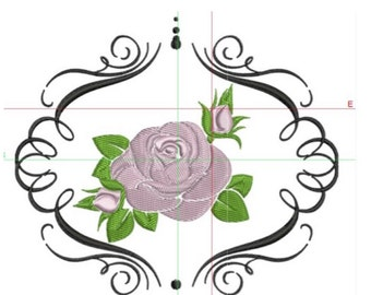 embroidery design , rose with boarder