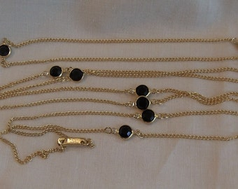 Sarah Coventry Sparkle By The Yard (Jet) Necklace 8620   Vintage, Golden