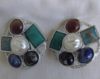 Sarah Coventry Happy Holiday Clip Earrings 7826    Vintage, Multicolored