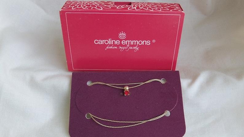 Caroline Emmons Red Rhinestone Necklace 3393        Vintage Red