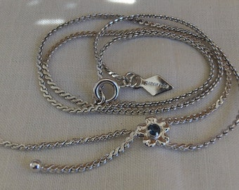 Sarah Coventry Sara Lariat Necklace 8255   Vintage, Silvery, Blue, Glass