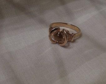 Sarah Coventry Genuine Tiger Eye Adjustable Ring 5777  Vintage, Golden