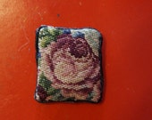Dollhouse Miniature Petit Point Pillow Big Rose, Small Pillow