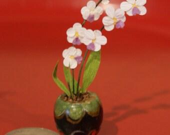 Dollhouse Miniature Orchid Arrangement; Free Shipping