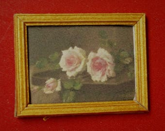 Dollhouse Miniature Print: Two Pink Prince-de-Bulgarie Roses
