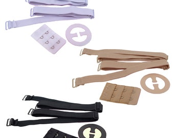 f249f62a64 Women Lingerie Accessories Bra Straps with Bra RacerBack Clip and 2 Hook  Extender Set for Girls Women