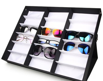 1727205b36 Black 18 Grids Eyewear Sunglasses Eyeglasses Collection Cover Lid Organizer  Storage Holder Box Case Stand-able for Counter Top Display