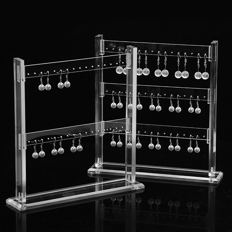Details about  /3Pc Earrings Shelf Display Rack Acrylic Showcase Jewelry Stand Holder Tree Shape
