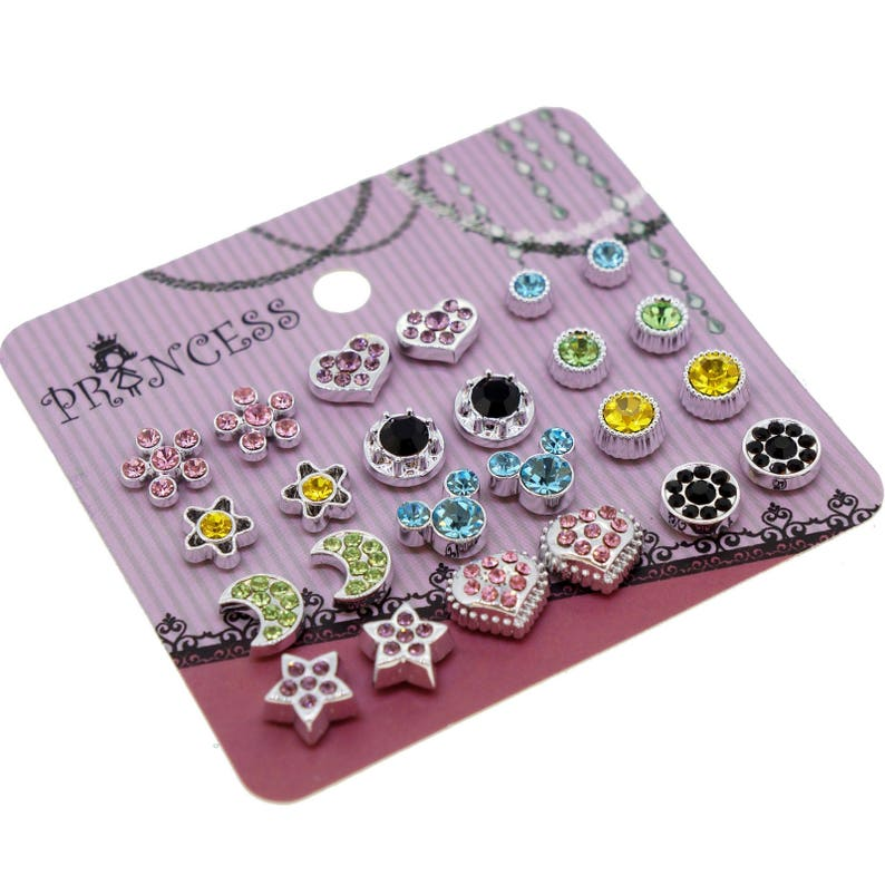 Color Crystal Magnetic Clip On Stud Earrings Fashion Jewelry image 0