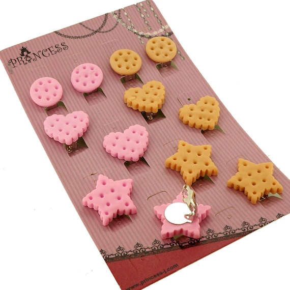Gift Set of 6 Pairs For Kids Teenage Teen Girls Women Mix Color Kawaii Cute Round Star Heart Shape Biscuits Cookie Food Clip-On Earrings