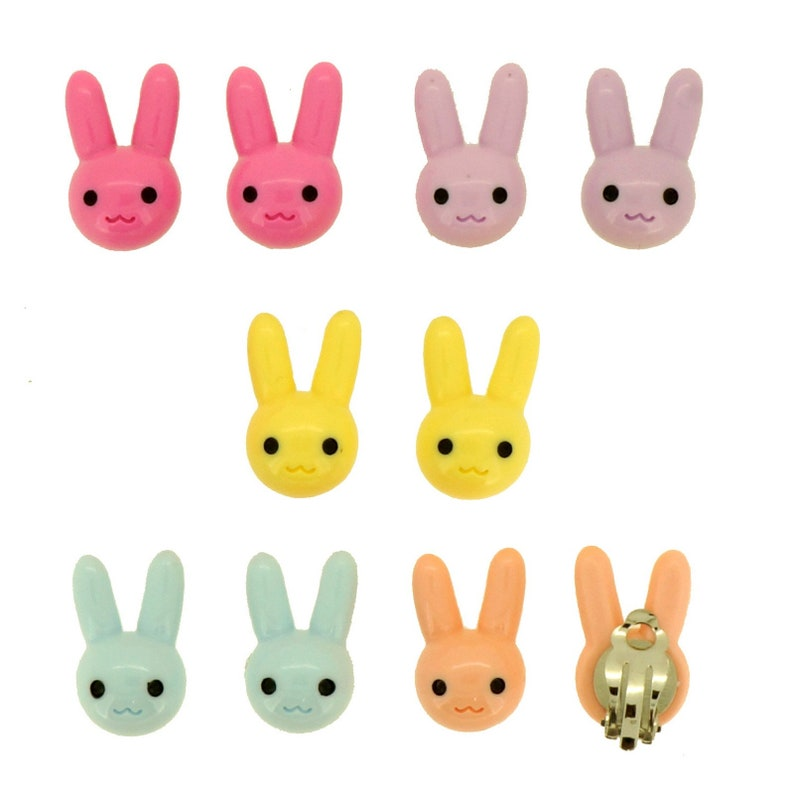 5 Pairs non-pierced earrings fashion jewelry Candy Color Cartoon Rabbit Clip-On Earrings for Kids Children Teen Girls Birthday Party Gift